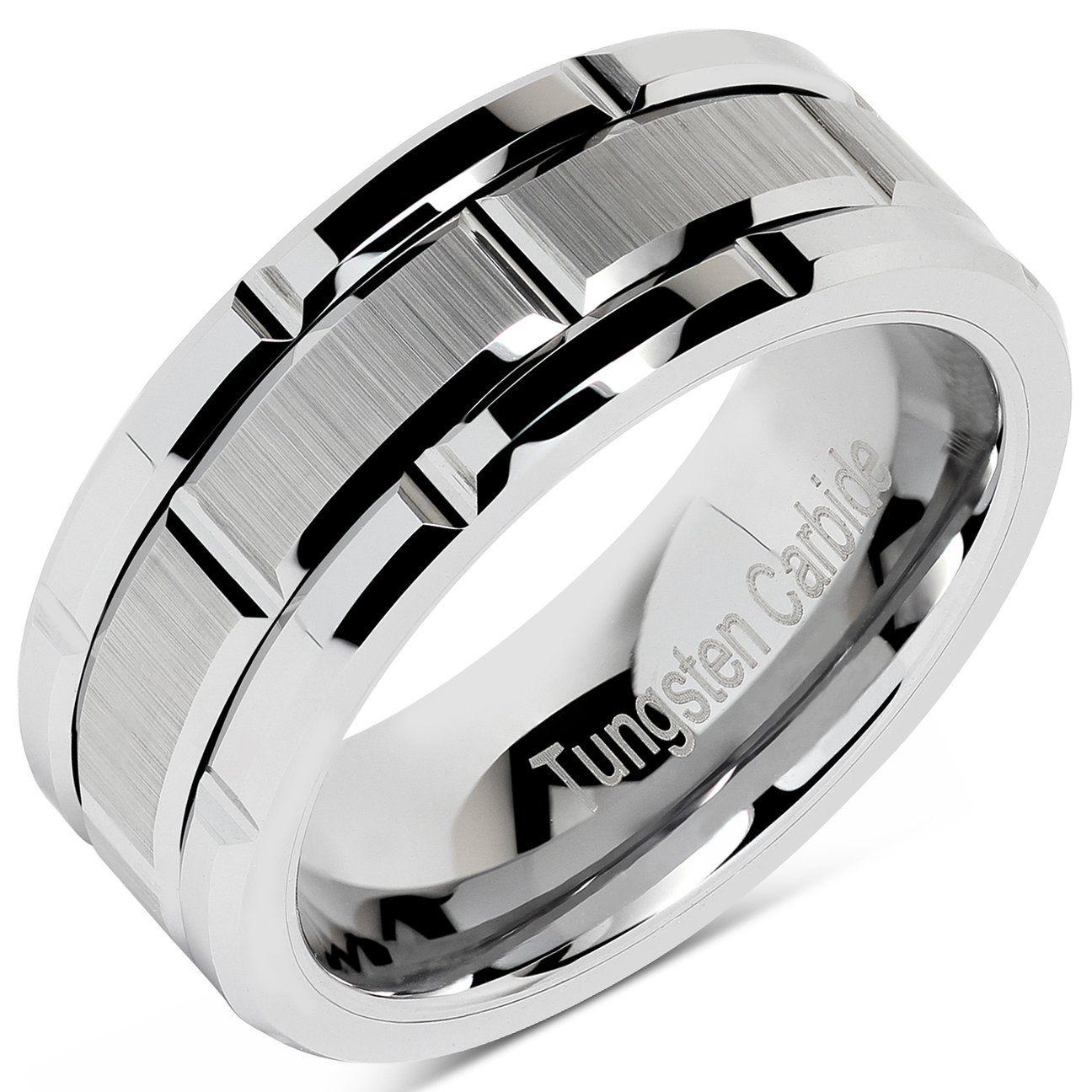Tungsten Rings for Men Wedding Band Silver Brick Pattern