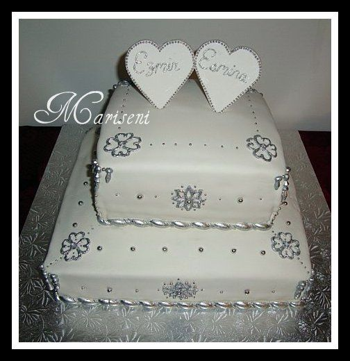 White & Silver Engagement Cake by Slice of Sweet Art - Custom Cakes, via Flickr