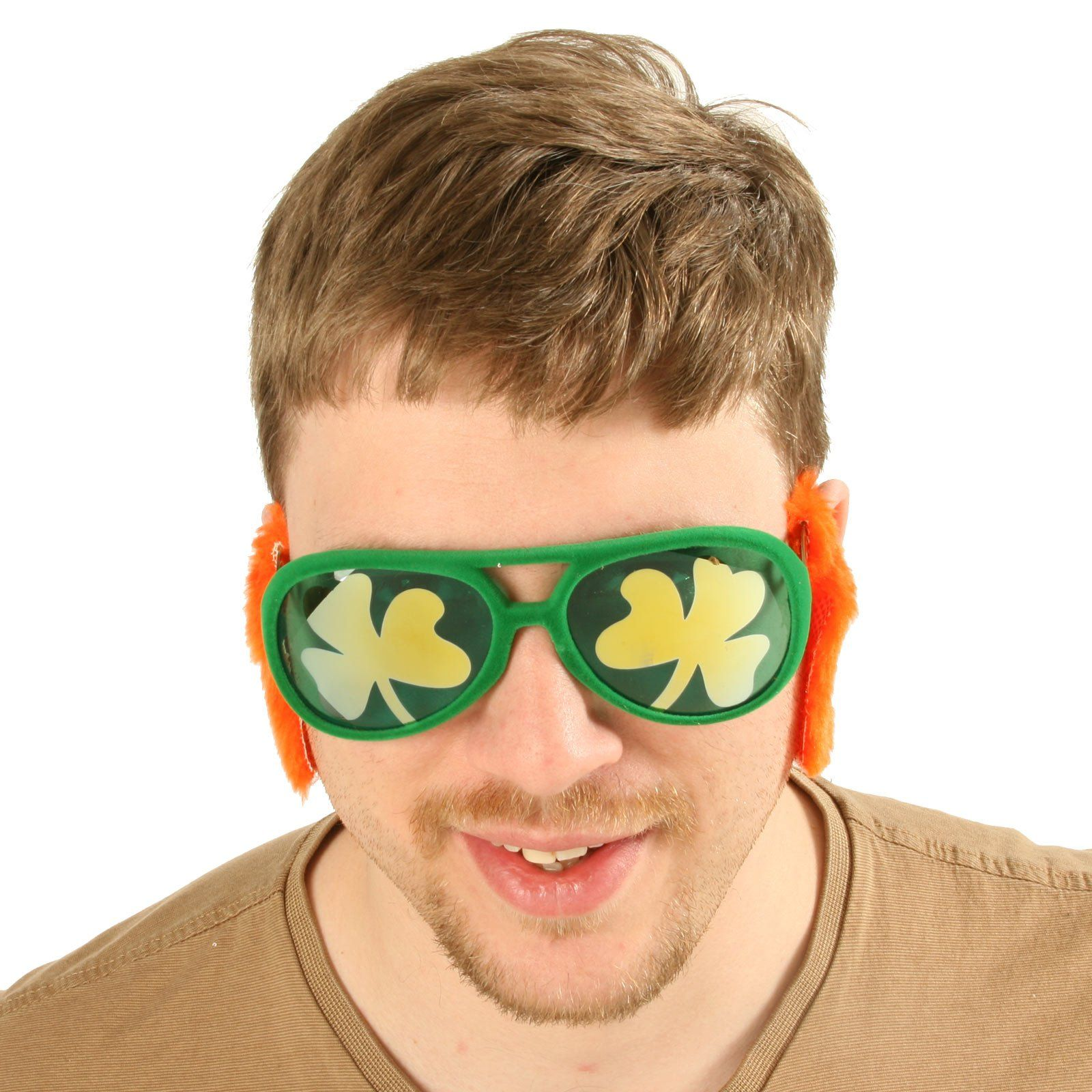 Add some humor to your St. Patricks Day wear by trying these Green Shamrock Glasses with attached orange sideburns. Made of 40% Acrylic 40% Metal and 20% Polyester. Glasses have UV 400 Protection. Frames measure approximately 5.5 across (not including handles). One-Size fits most adults.