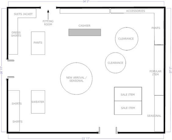 Boutique free flow store layout visual goals for Trade show floor plan design