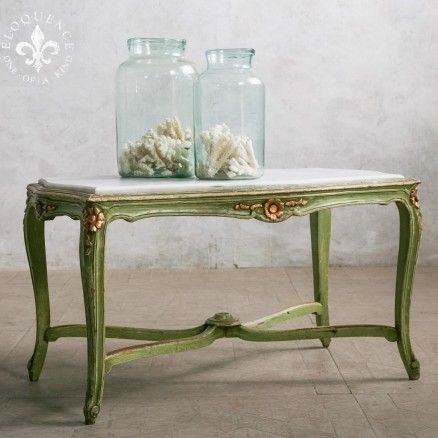 Unique Grass-Green Vintage Coffee Table in White Marble Top