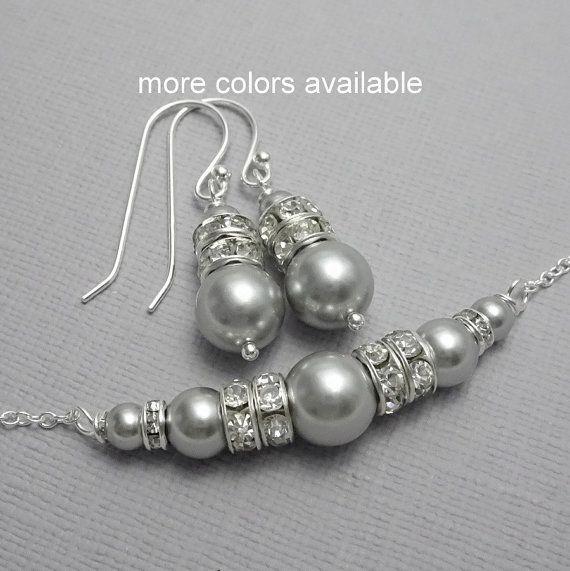 Light Grey Bridesmaid Jewelry Set Swarovski Pearl B