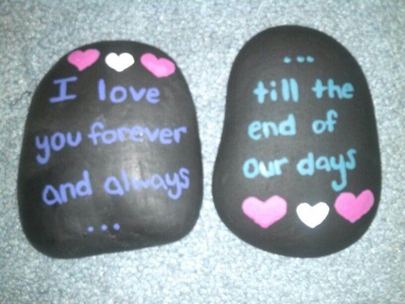 Painted Rocks..Set of 3 Sentiment Rocks..Love Rocks..Boyfriend Rocks..Girlfriend Rocks.Painted ROcks