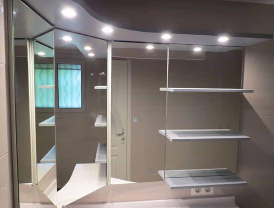 avec leurs courbes lgantes les meubles dangle sont parfaits pour sadapter aux coins de votre salle de bain dcouvrez notre ralisation en triangle - Miroir D Angle Pour Salle De Bain