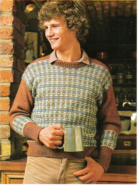 mens knitting pattern PDF mens fair isle sweater mens fair isle ...