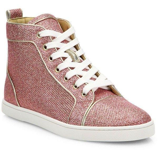 cheap for discount 3a0f2 55541 Christian Louboutin Bip Bip Glitter High-Top Sneakers ($945 ...