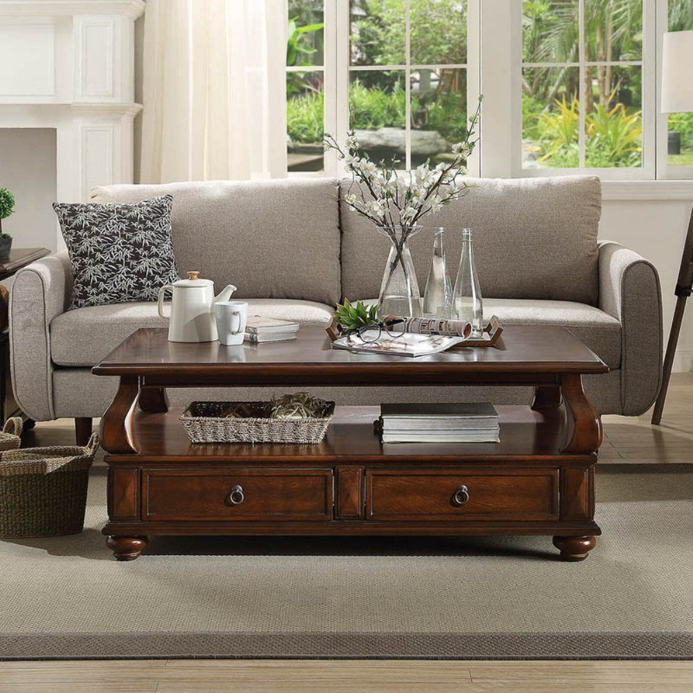 Acme Furniture Amado Walnut Coffee Table Coffee Table Walnut