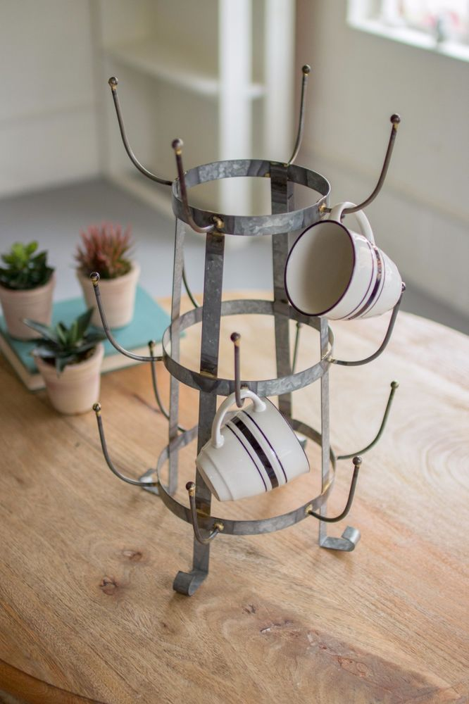 galvanized metal coffee mug tree holder cups organizer kitchen rh pinterest com