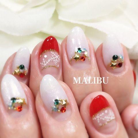12月キャンペーン】赤白クリスマスネイル♪ の画像|恵比寿