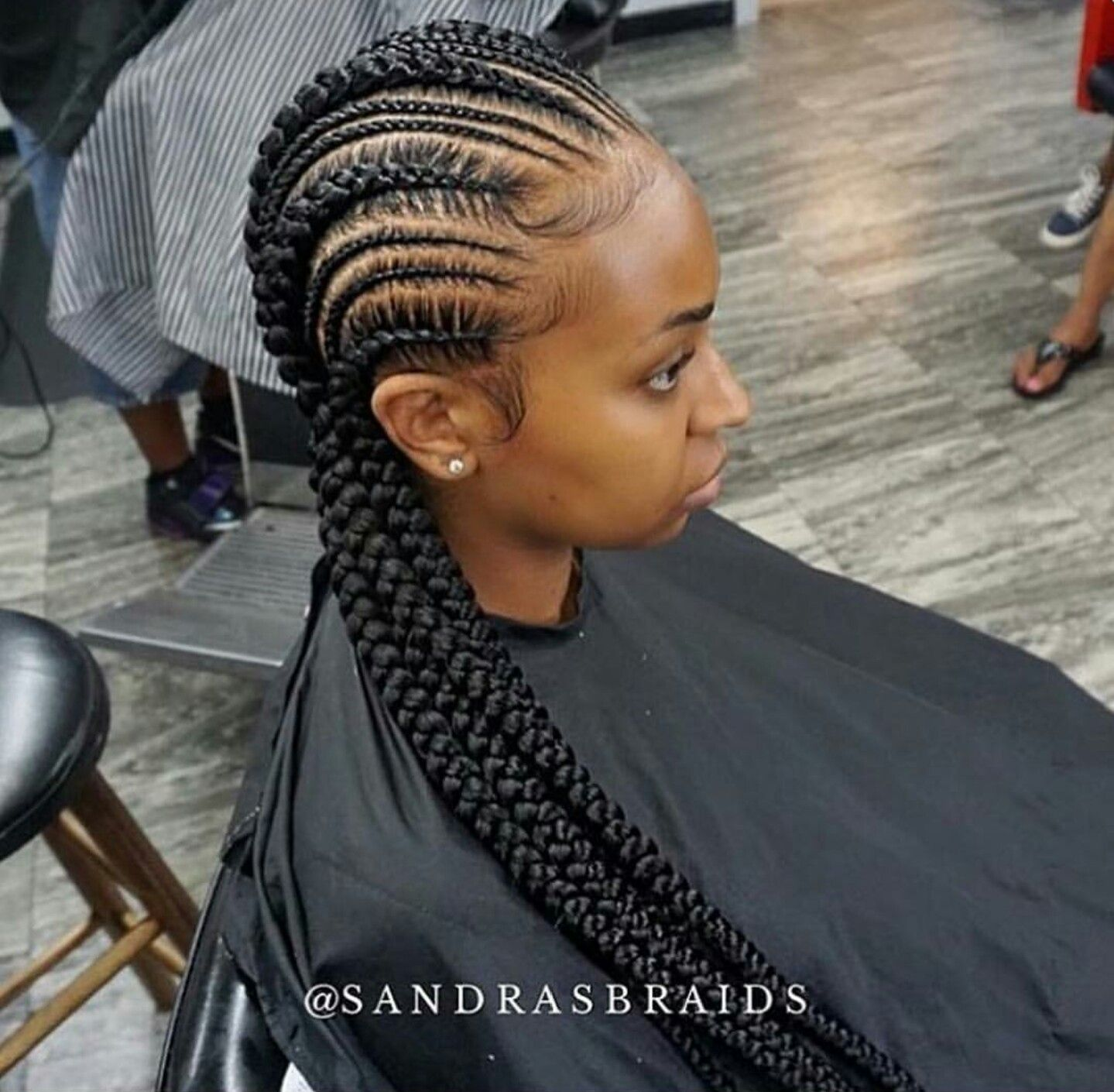 small and big cornrows | natural hair style braids | braided