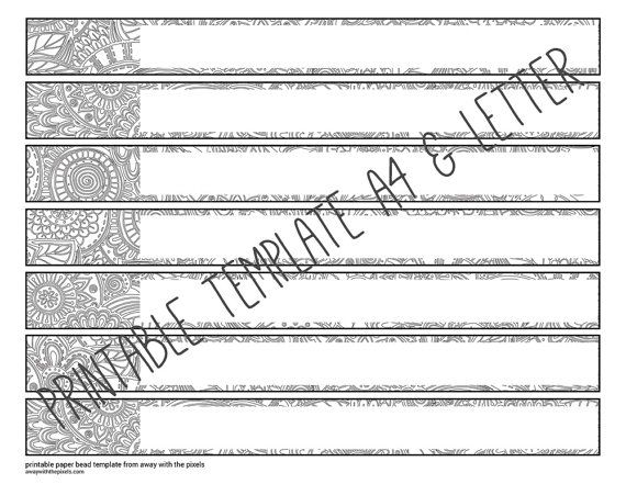Black White Digital Paper Bead Template to Color, DIY Paper Bead - white paper template