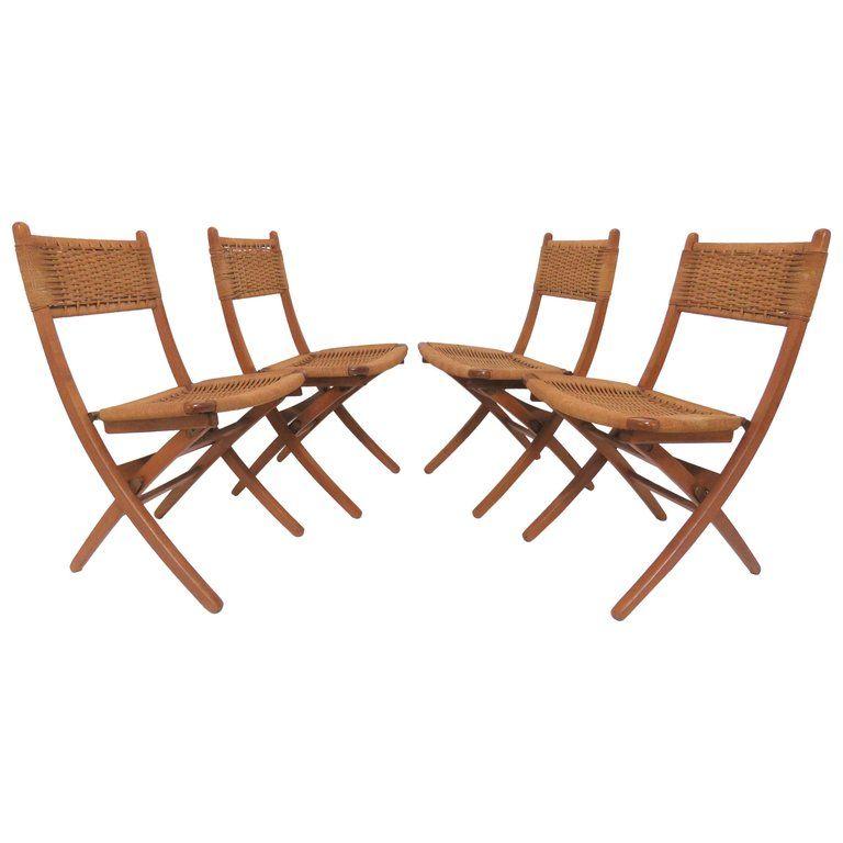 set of four hans j wegner dining room chairs danish folding rope rh pinterest com