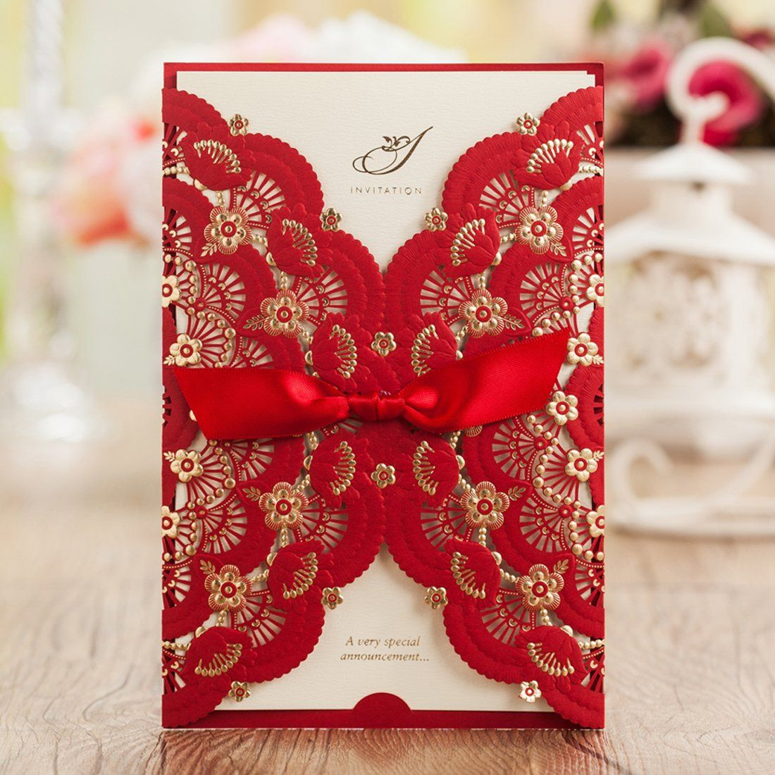 Affordable wedding dress designers list  Wishmade x Elegant Red Laser Cut Wedding Invitations Cards with