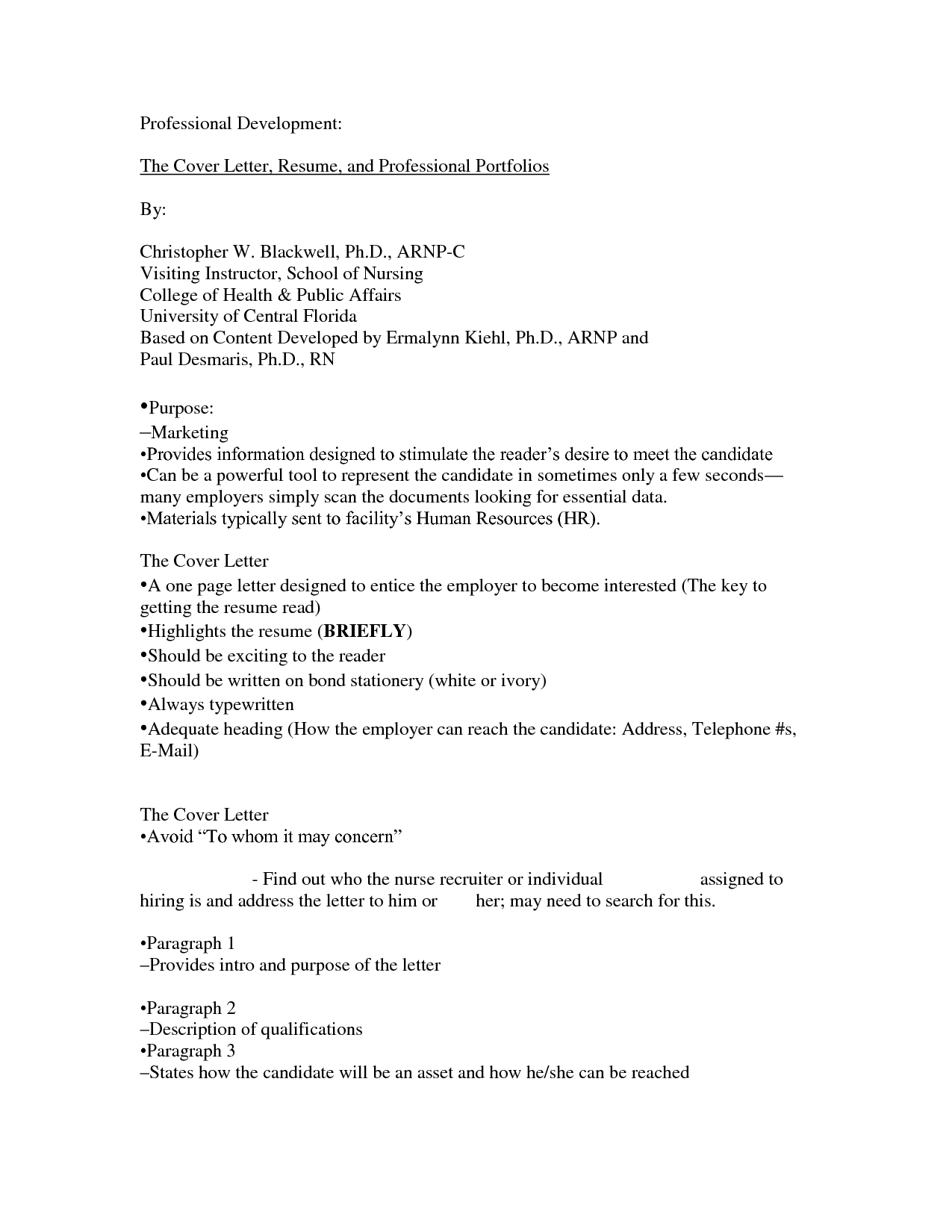 college resume cover letter