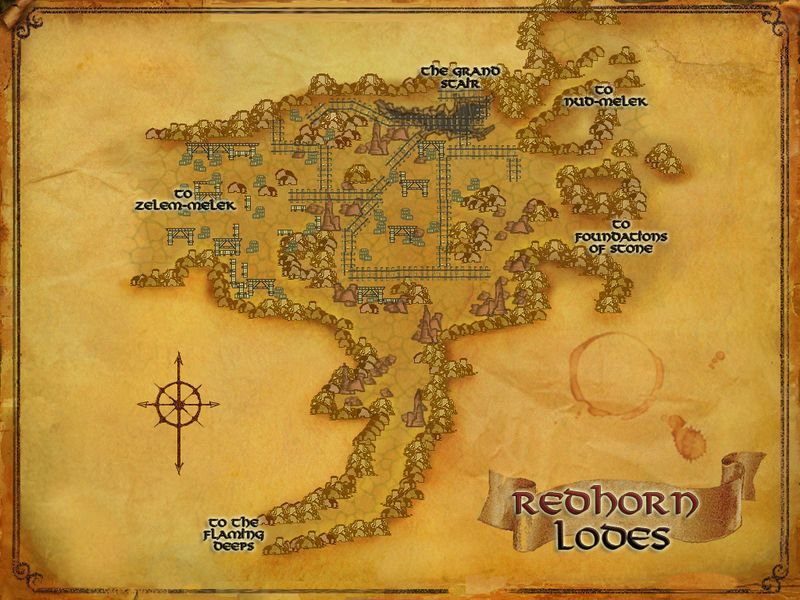 LOTRO map of the Redhorn Lodes LOTRO