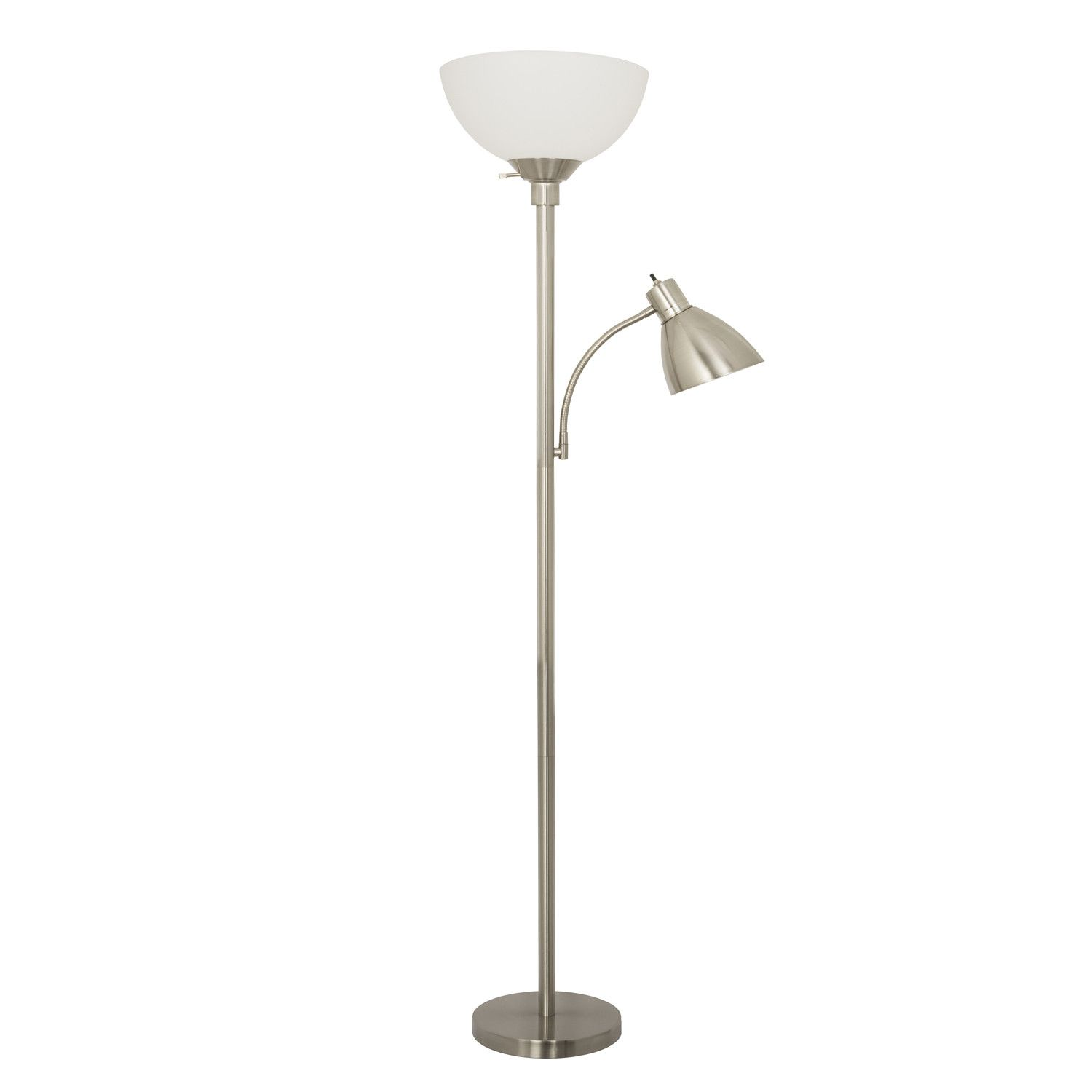 Home Design 150 Watt Floor Lamp With Side Reading Light Satin Nickel