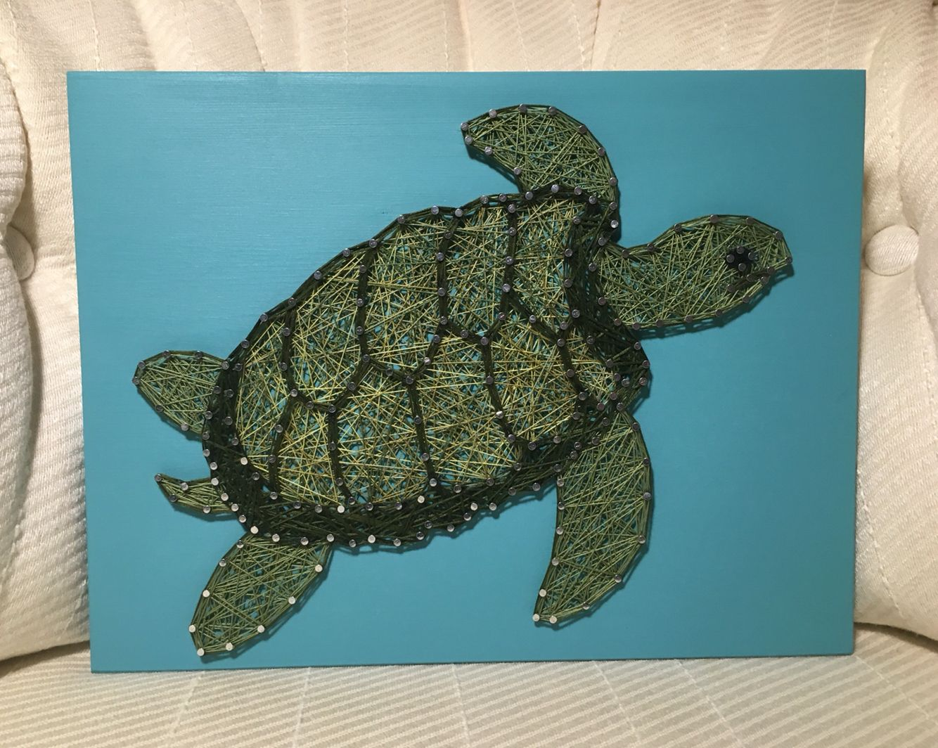 Sea Turtle String Art Ocean Life Handmade Made To Order
