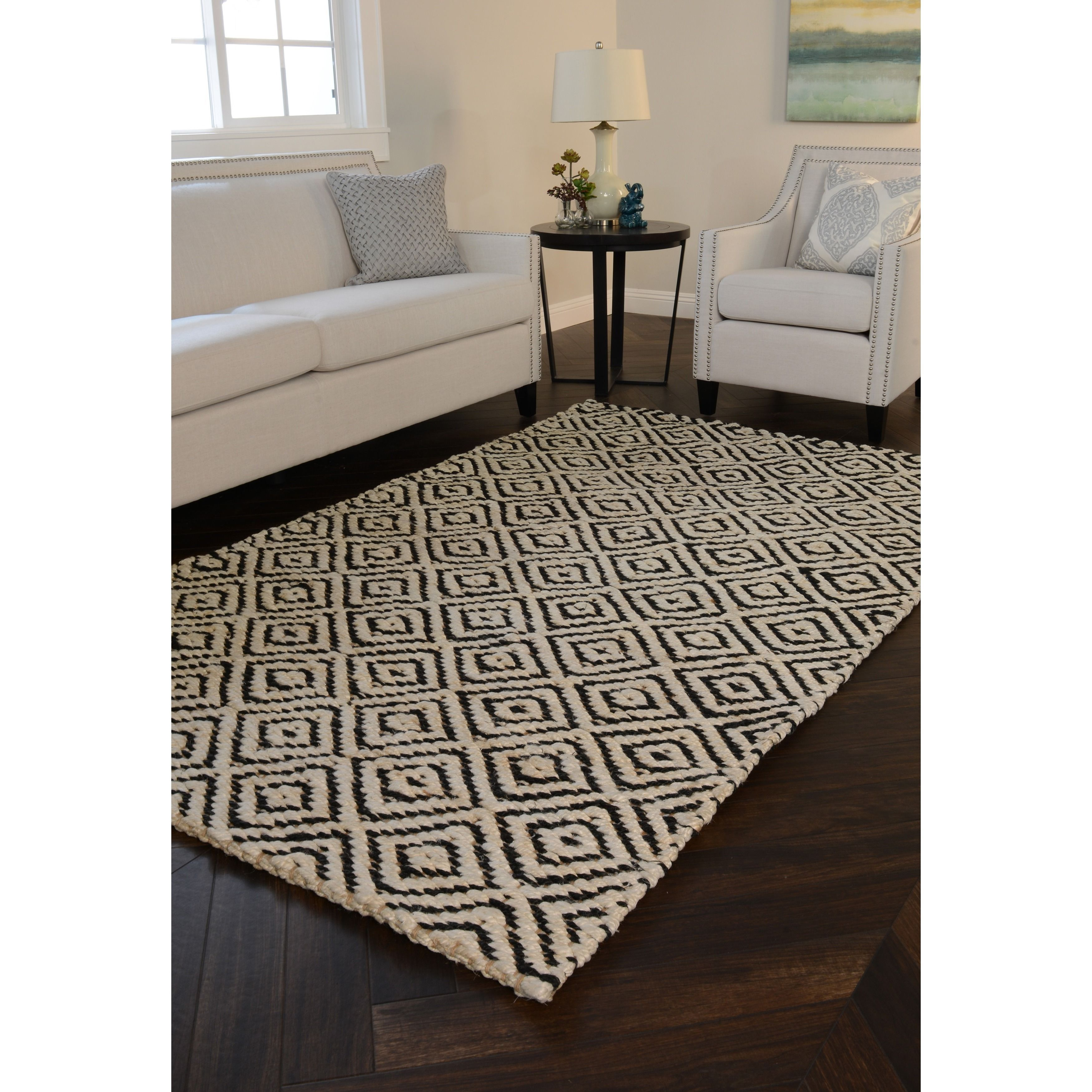 rug for living room size%0A Kosas Home Handwoven Kali Jute Black and Bleached Rug    u     x   u