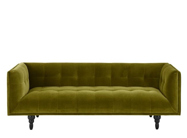 made 3 seater sofa olive cotton velvet green express delivery rh pinterest com