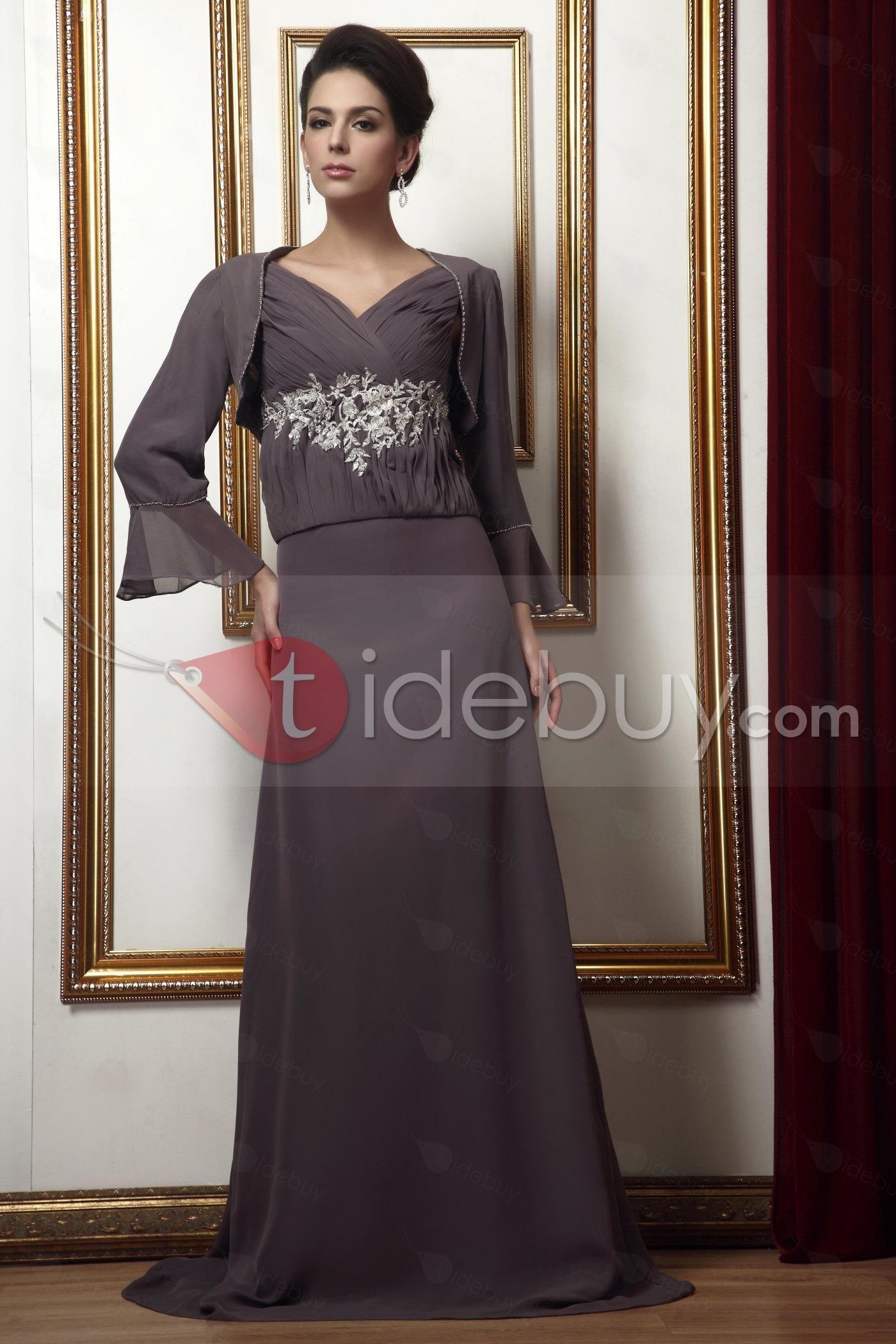 魅力的なアップリケ Aライン Vネック ロング花嫁さんの母ドレス