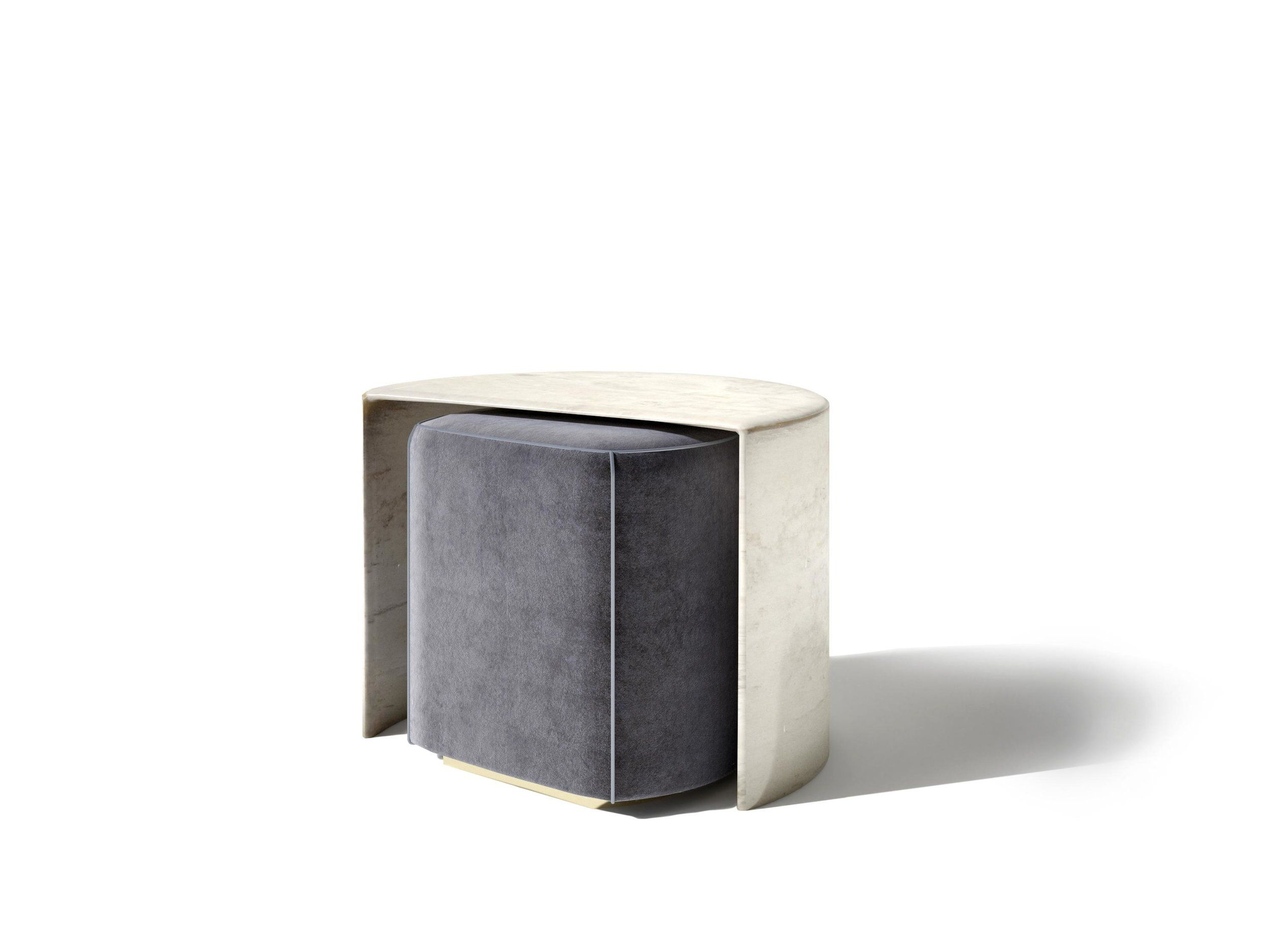 Shell By Privatiselectionem For Galerie Sors Small Table And Pouf In Hand Silvered Brass And Velour Design Contemporain Meuble Meuble Design