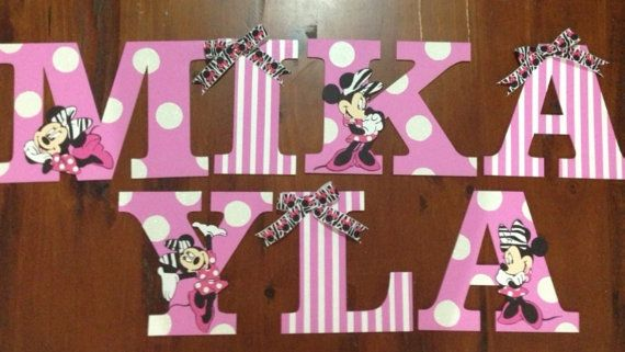Hand Painted 12 50 Each Minnie Mouse Hanging Nursery By Patandi 12 50 Minnie Mouse Baby Shower Girls Wall Decor Minnie Baby Shower