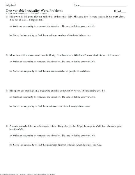 20 Inequality Word Problems Worksheet 7th Grade With Images