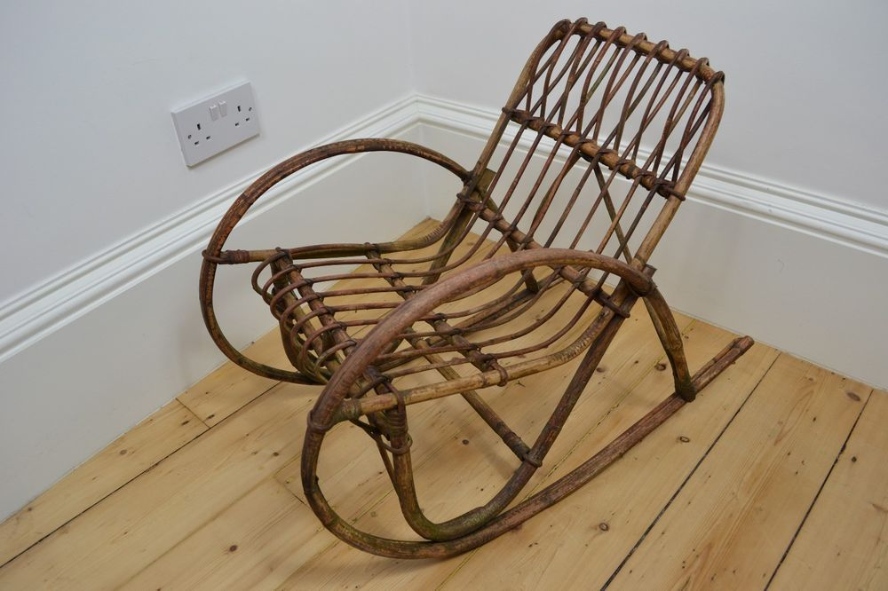 Vintage 1930 S Bamboo Wicker Wood Child Rocking Chair Uk
