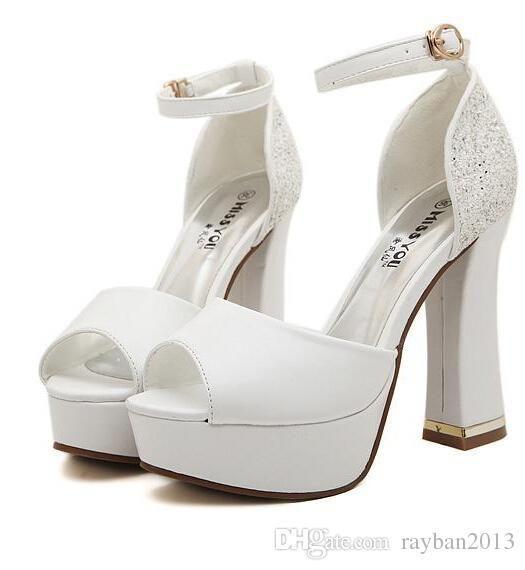 c1a2718f42369d 2015 Luxury Ivory White Glitter Wedding Shoes Sandals Elegant Bridal Shoes  Pumps Platform High Thick Heels Women High Heel Shoes Bride Collection  Bride Shop ...