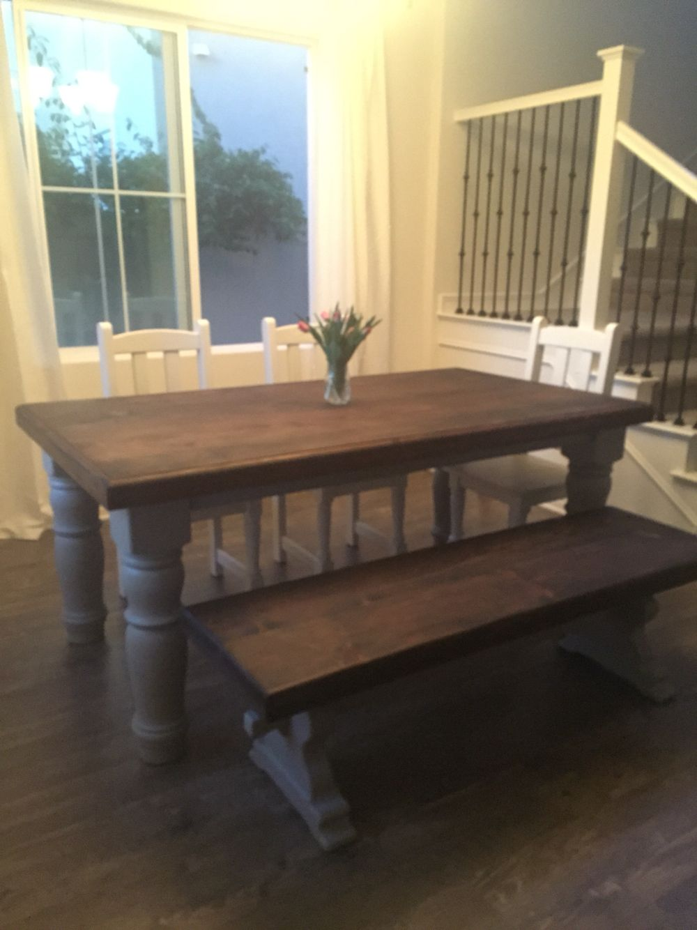 diy farmhouse table grey leg this was my project it started off rh pinterest com