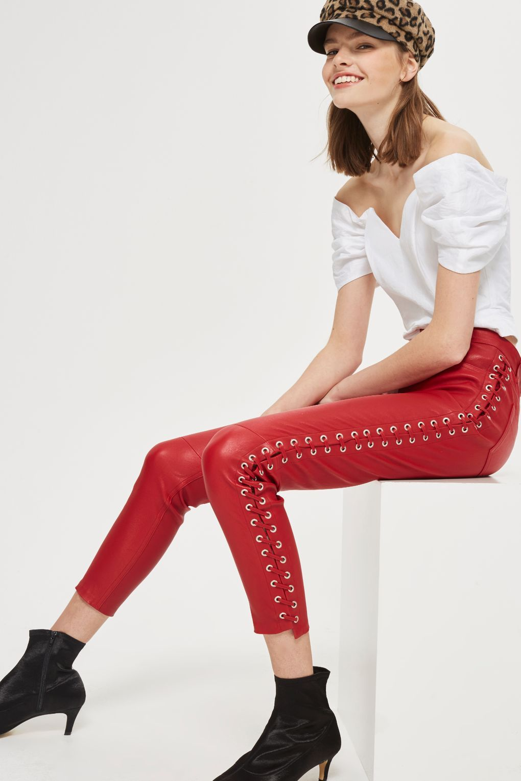 0021326b5d1a62 Premium Leather Side Lace Up Trousers - New In Fashion - New In - Topshop  Europe