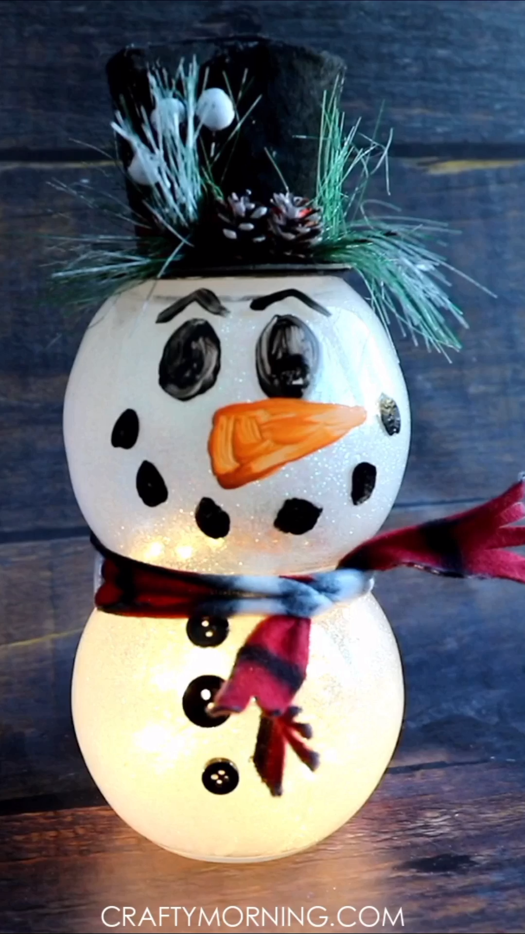 Lighted Fish Bowl Snowman- Dollar store craft to make! Christmas DIY project, craft for kids to even make. Love Dollar tree crafts! Xmas, holiday idea for home decor. Lights up!