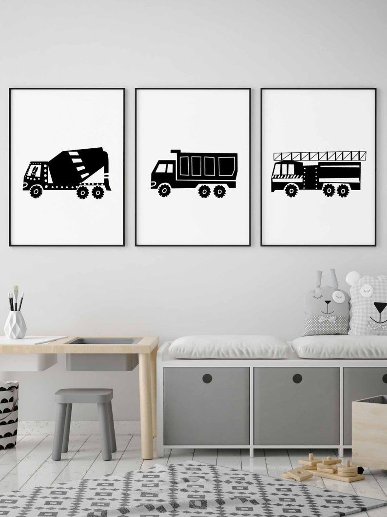 Truck Wall Art Set of 3 Black and White For Toddler Boy Room Decor, Transportation Wall Art Instant images