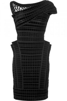 c151f764e27 ShopStyle  HERVE LEGER Black Velvet Detailing Stretch Dress