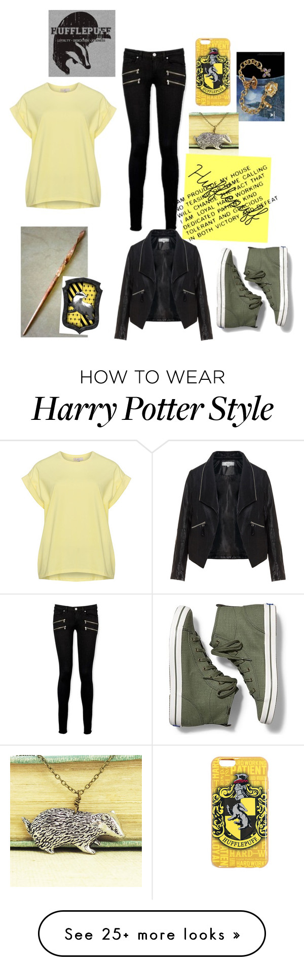 """""""Hufflepuff"""" by booandsadie on Polyvore featuring Paige Denim, Zizzi and Keds"""