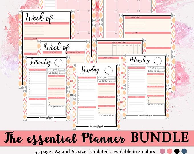 A5 printable planner bundle, daily inserts, weekly printable - daily calendar printable
