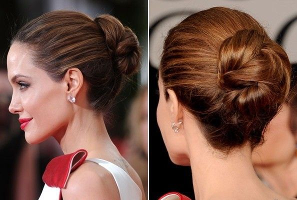 angelina jolie's variation on a bun | hairspray, ponytail and updo