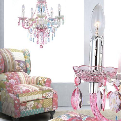 Kronleuchter Decken Pendel Landhaus Hänge Lampe bunt Kristalle Chrom - lampe für wohnzimmer