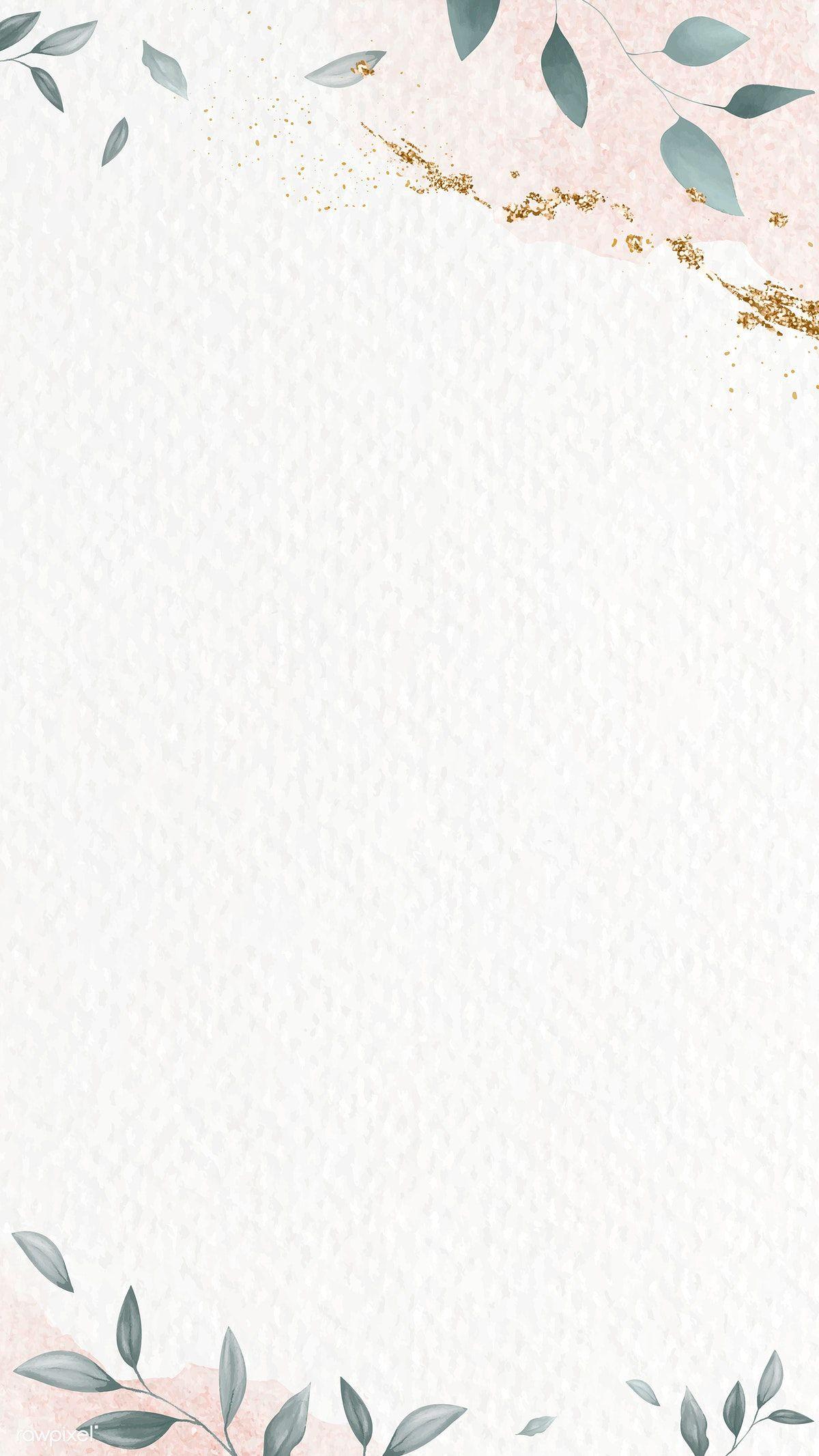 Download premium vector of Glitter pink leafy frame mobile wallpaper