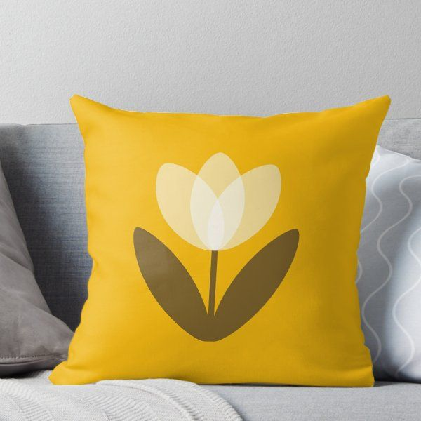 Retro Tulip In Yellow Throw Pillow By Suzielondon Yellow Throw Pillows Throw Pillows Yellow Throw