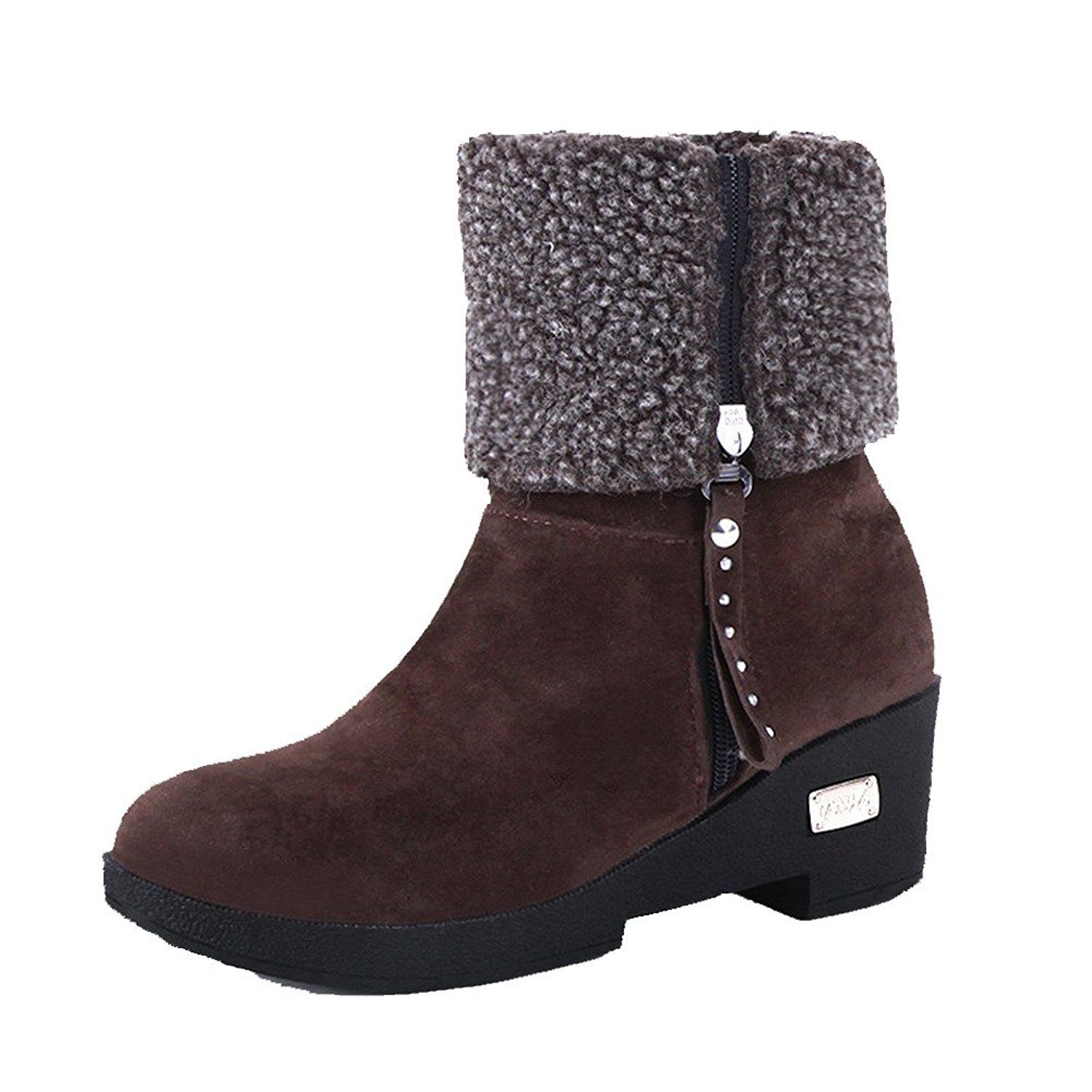 Allhqfashion Women S Low Top Solid Zipper Round Closed Toe Kitten Heels Boots Hurry Check Out This Grea Women S Over The Knee Boots Boots