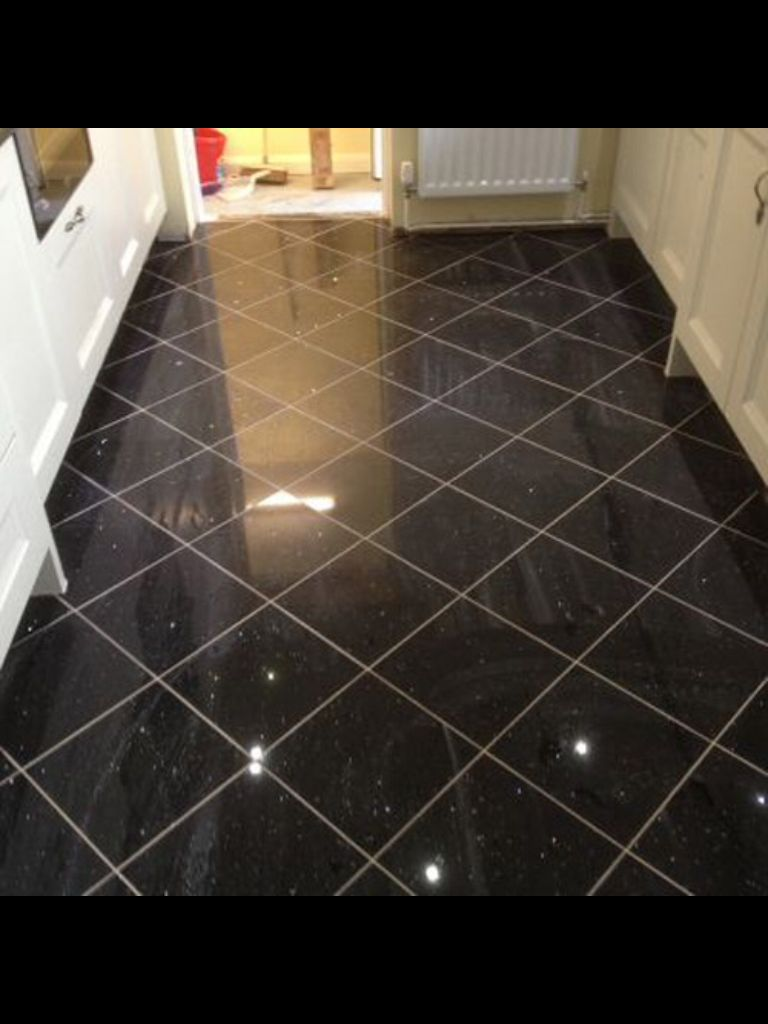 Black galaxy granite floor tile black pinterest for Bathroom ideas black tiles