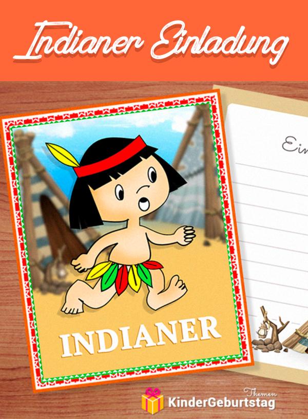 Indianer Einladungskarten Kostenlos Ausdrucken: Free Printable Vorlagen Für  Einladungen Zum Kindergeburtstag Unter Dem Motto Indianer