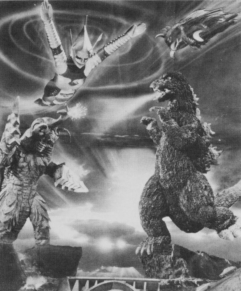 Godzilla vs. Megalon battle collage