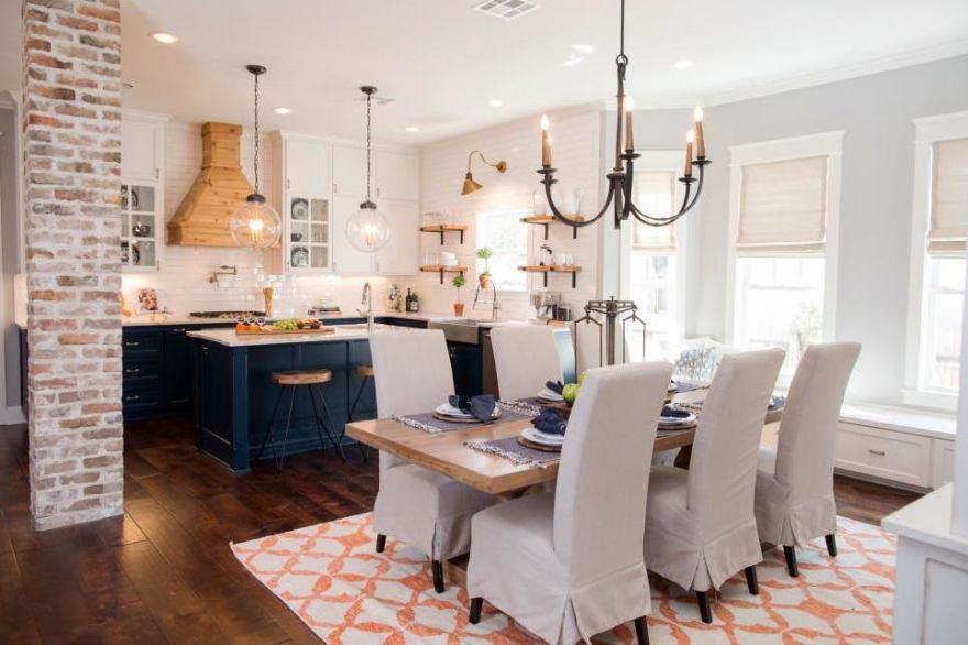 The dining room after love the roman shades www for Joanna gaines dining room designs