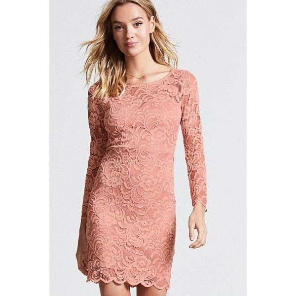 b9f9d56f5a1a Forever21 Floral Lace Bodycon Dress ($14) ❤ liked on Polyvore featuring  dresses, mauve, long-sleeve lace dresses, floral dresses, red dress,  long-sleeve ...