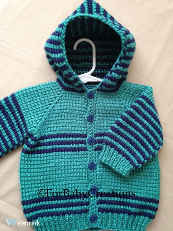 Crochet Baby Boy Sweater with Hood Dark Blue by ForBabyCreations ...