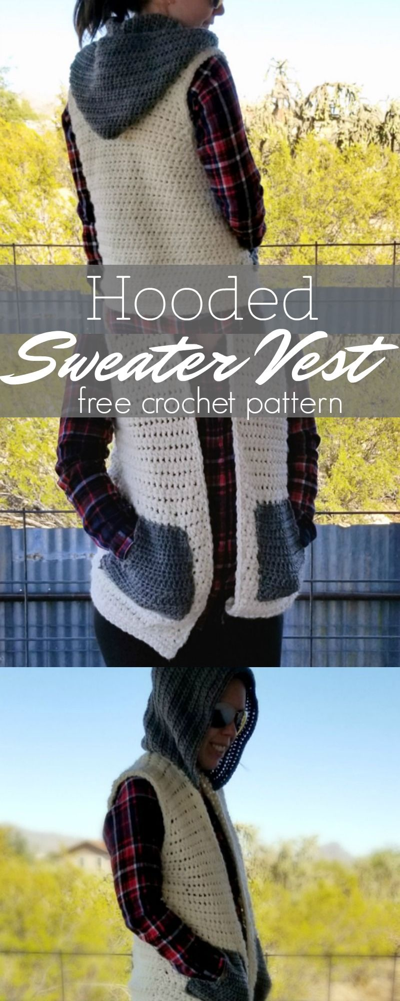 Crochet Hooded Sweater Vest | Pinterest | Tejido, Patrones de suéter ...