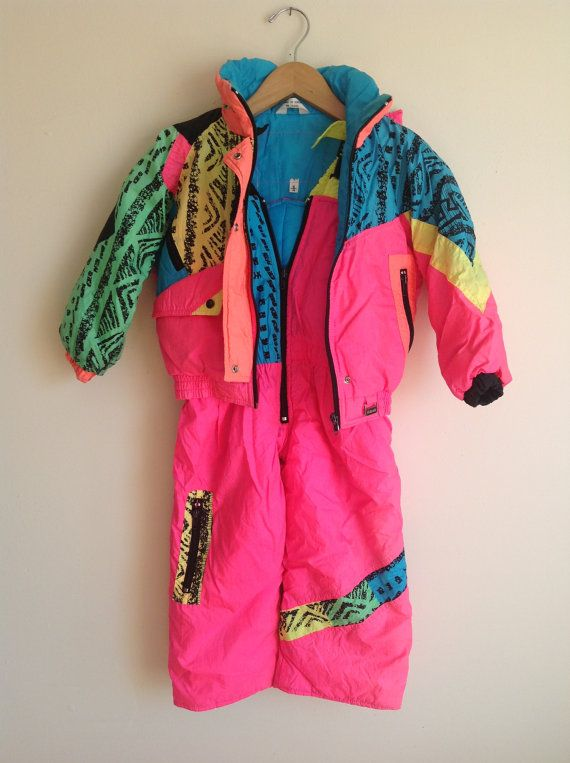 1c831f67345e Vintage Neon 80s toddler snowsuit 2pc girls size 4 by venusloon ...