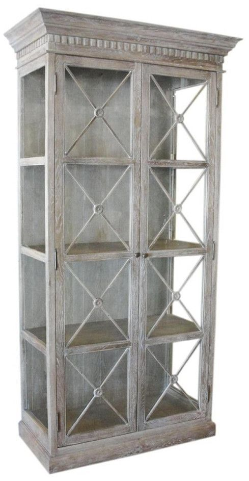 a white washed french style display cabinet featuring glass doors rh pinterest com